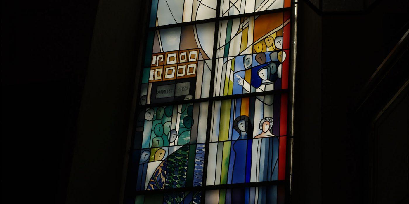 Johanniskirche modernes Kirchenfenster (Felger) Rede von Paulus
